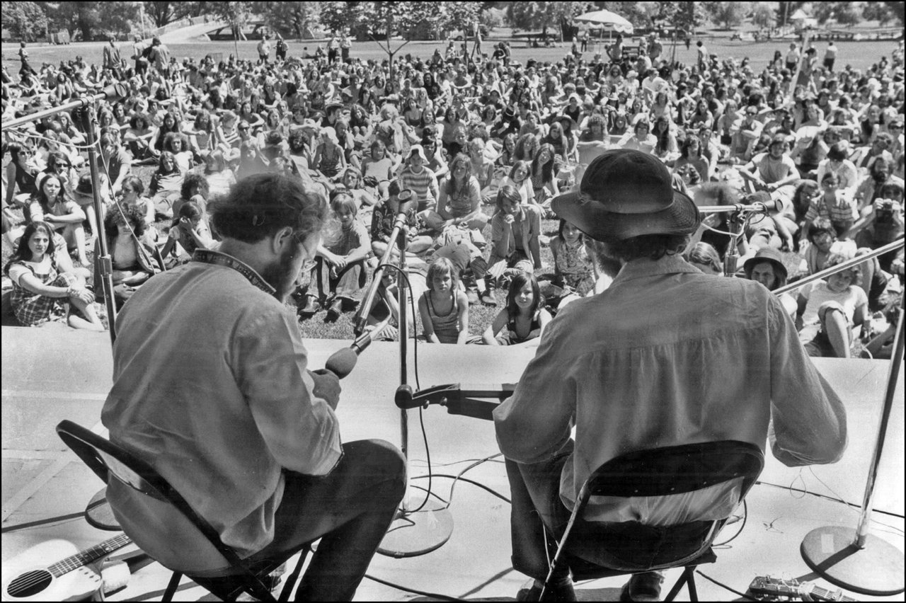 11th Annual Mariposa Folk Festival on Toronto Island with Bruce Cockburn (right); onstage with...jpg