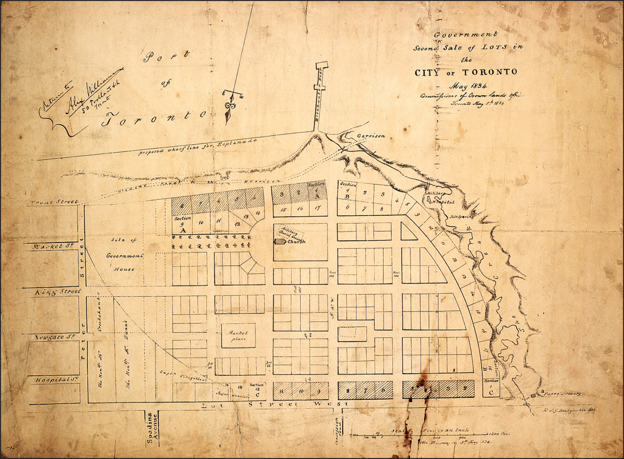 1834 map (1) of Toronto-area near present day Spadina (south at top of map)  TPL.jpg