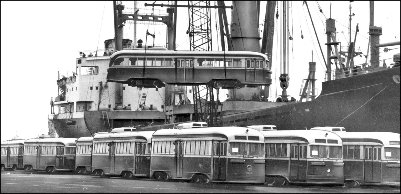 21 TTC streetcars being shipped to Alexandria, Egypt (after opening of Bloor subway) 1966 TPL.jpg