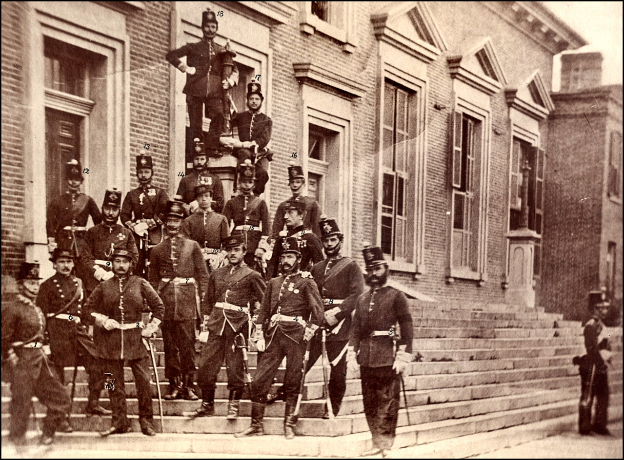 30th regiment-officers at front of Parliament Buildings Front St. W. 1861 TPL.