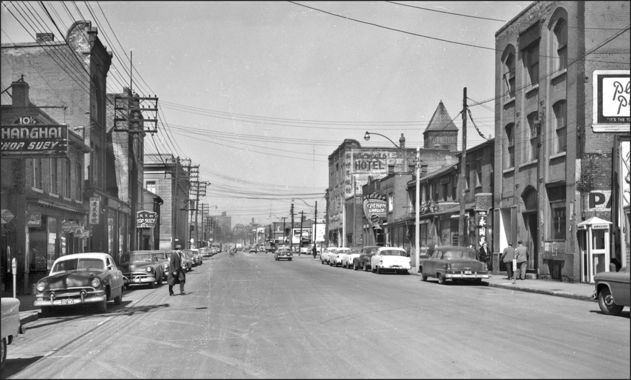 Elizabeth St., looking north from north of Queen St. W. 1955  TPL.jpg