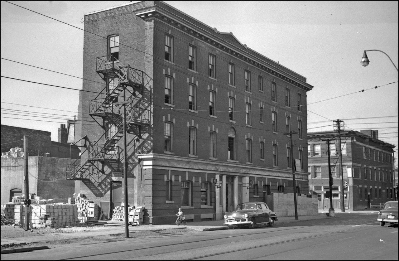 Gerrard, Hotel, Gerrard St. E., south east corner Parliament St.; during demolition. 1952  TPL.jpg