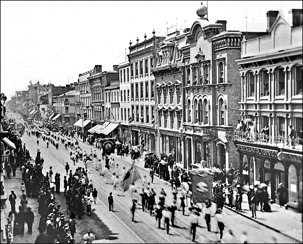 July 12-Orange Parade, King St. E. looking W. from E. of present Victoria St. c.187_?  TPL.jpg