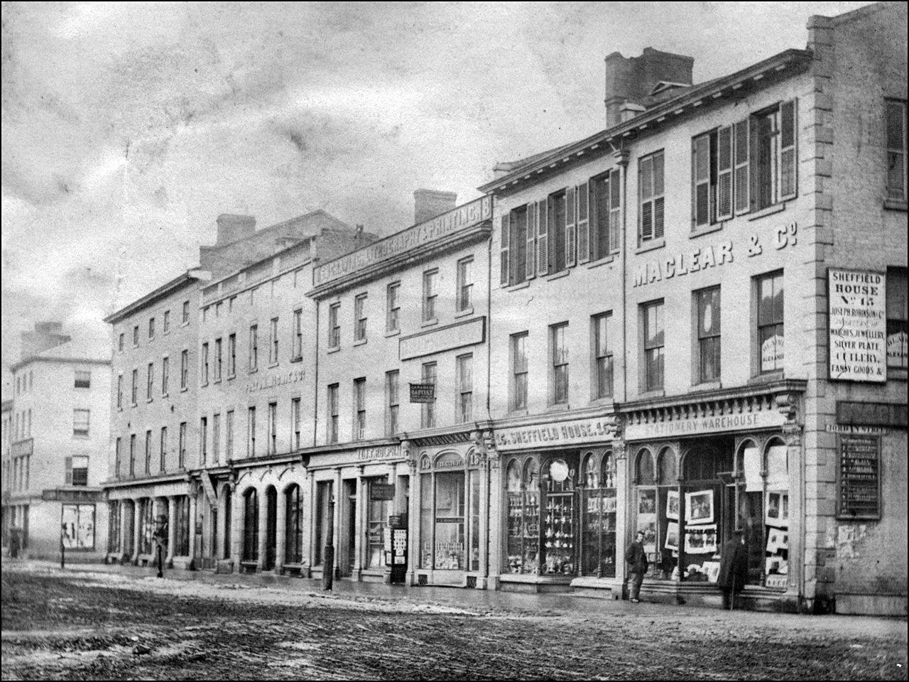 King St. W., south side, looking east from Jordan St. 1867 TPL.jpg