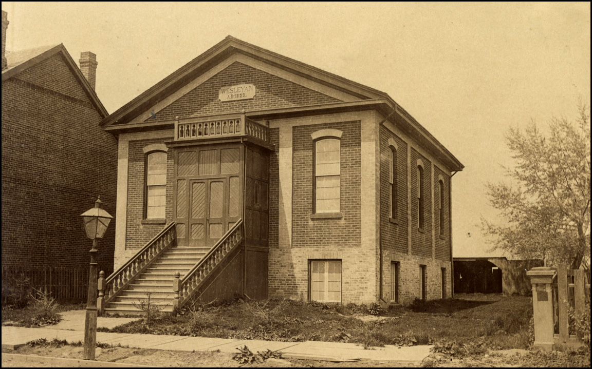Kingston Rd. Methodist Church, built 1859, Queen St. E., north west corner Vancouver Ave. c.18...jpg