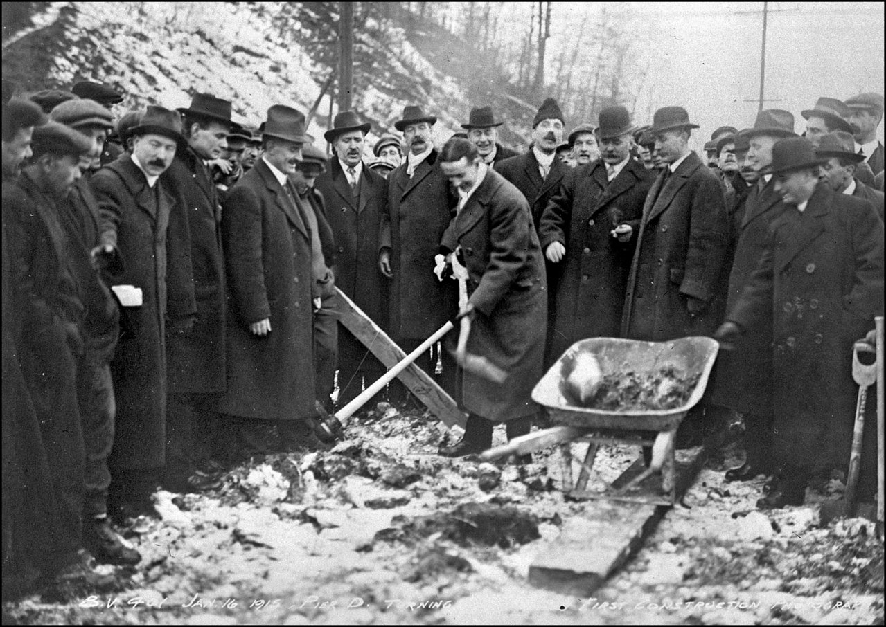Mayor T.L. (Tommy) Church turning first sod for Bloor St. viaduct 1915 TPL.jpg