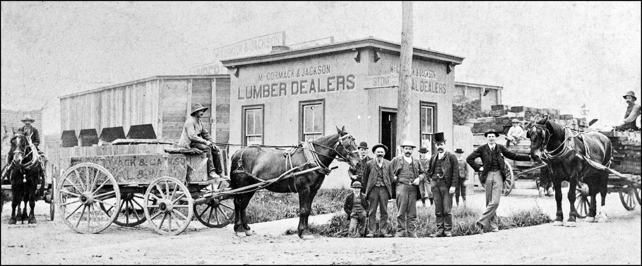 McCormack & Jackson lumber dealers, Keele Street, NW corner of Vine St. c.1888 TPL.jpg