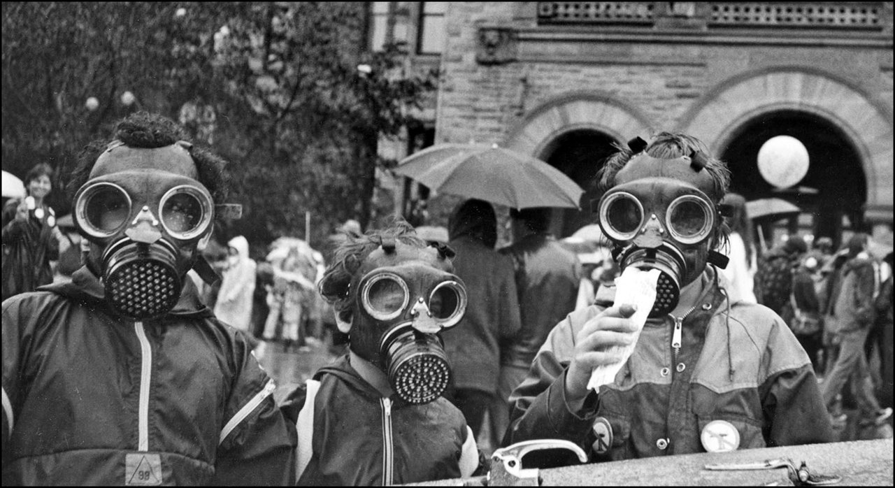 Nuclear disarmament demonstration in front of Parliament Buildings,  Queen's Park 1982  TPL.jpg