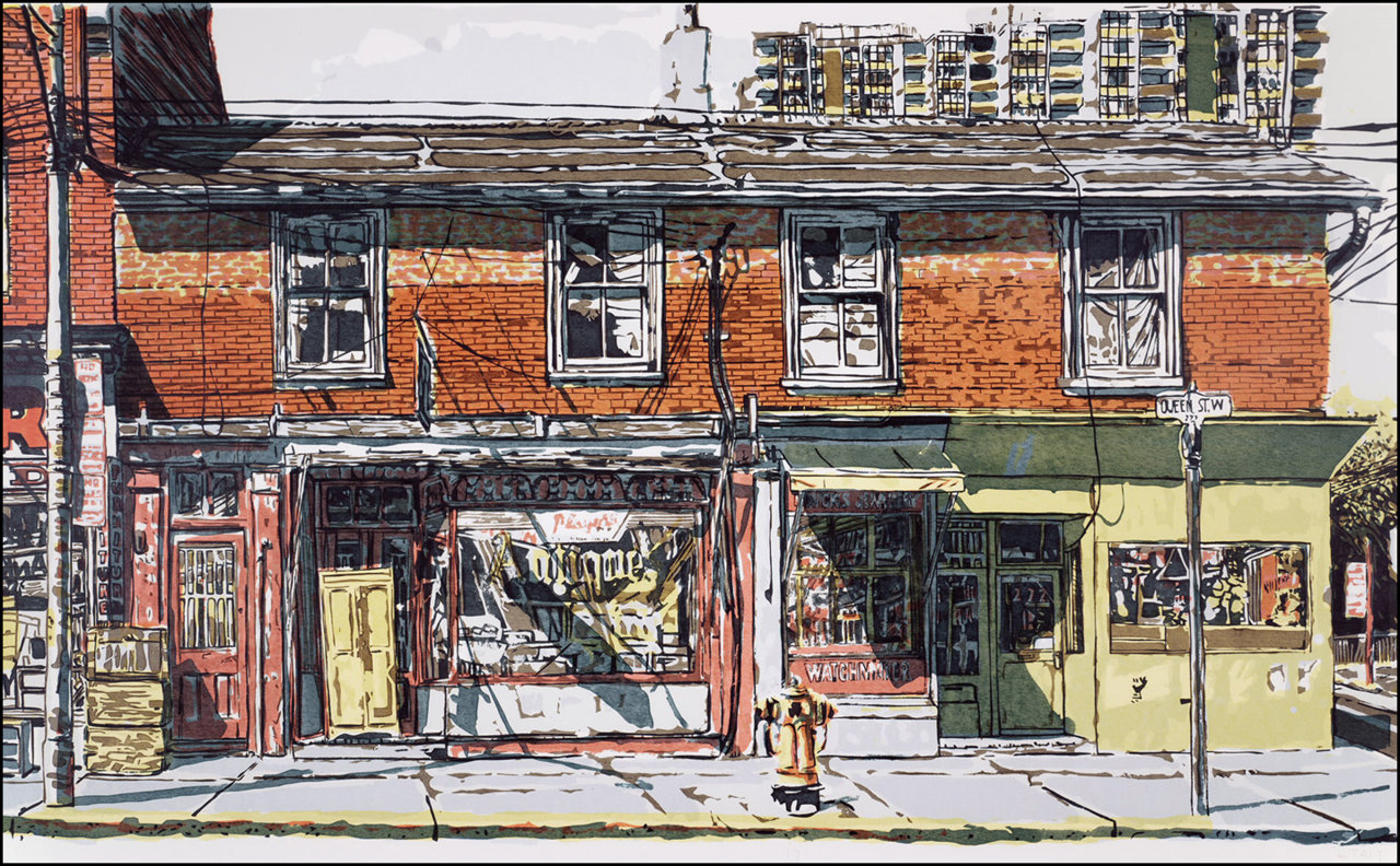 Queen St. W. at Beverly St. 1974, illustration © Leslie Tait, TPL.jpg