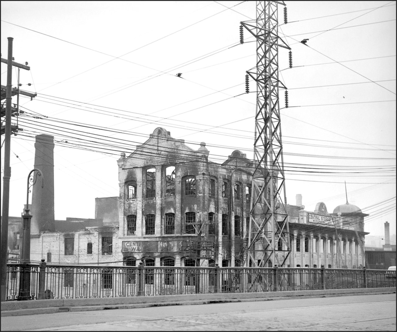 Reinhardt Brewery Company, Mark St., north side, west side of Don Roadway W. (Shows aftermath ...jpg