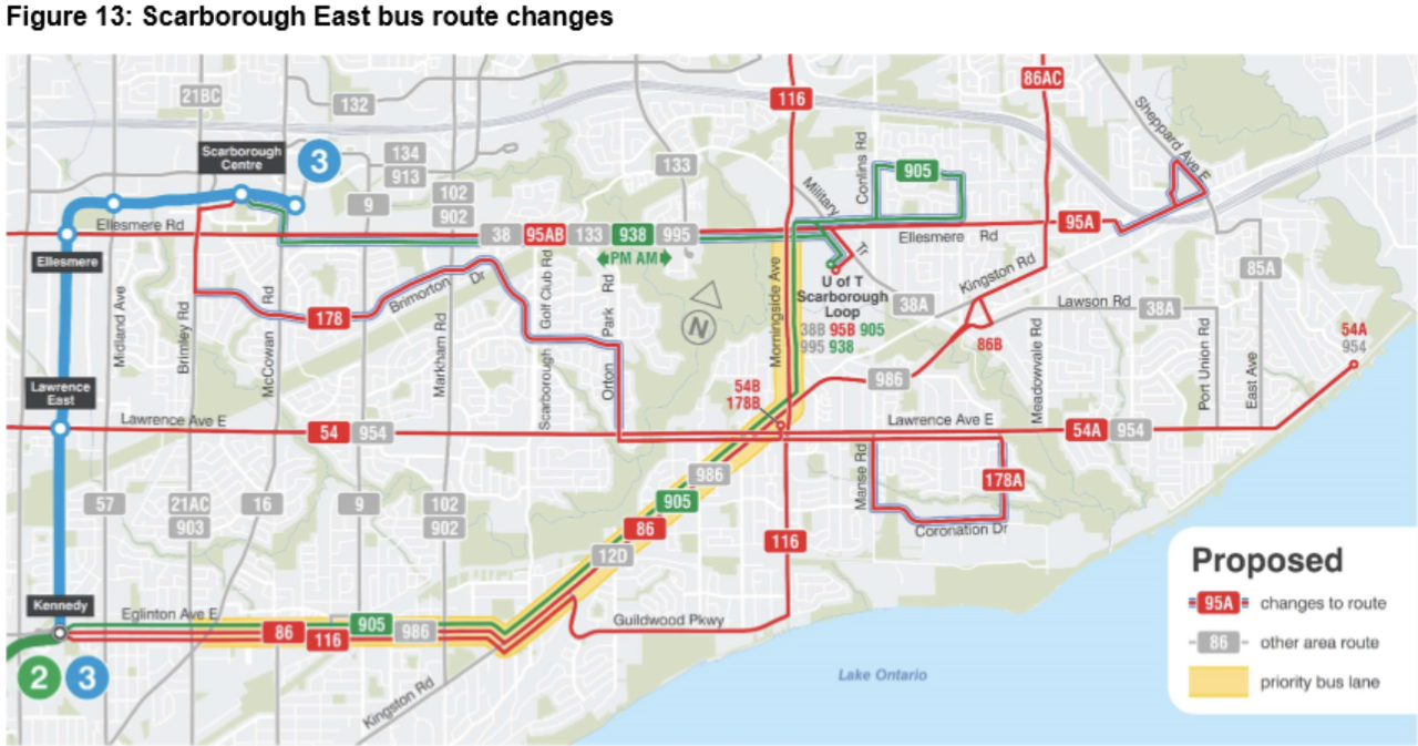 Scarborough Central and East bus route changes.png