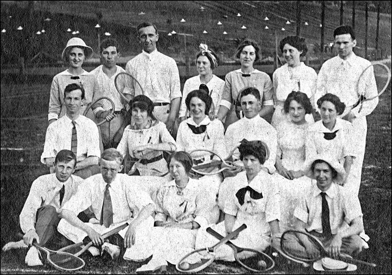 Tennis team (two) at tennis courts, Riverdale Park, Broadview Avenue, west side, opposite Tenn...jpg