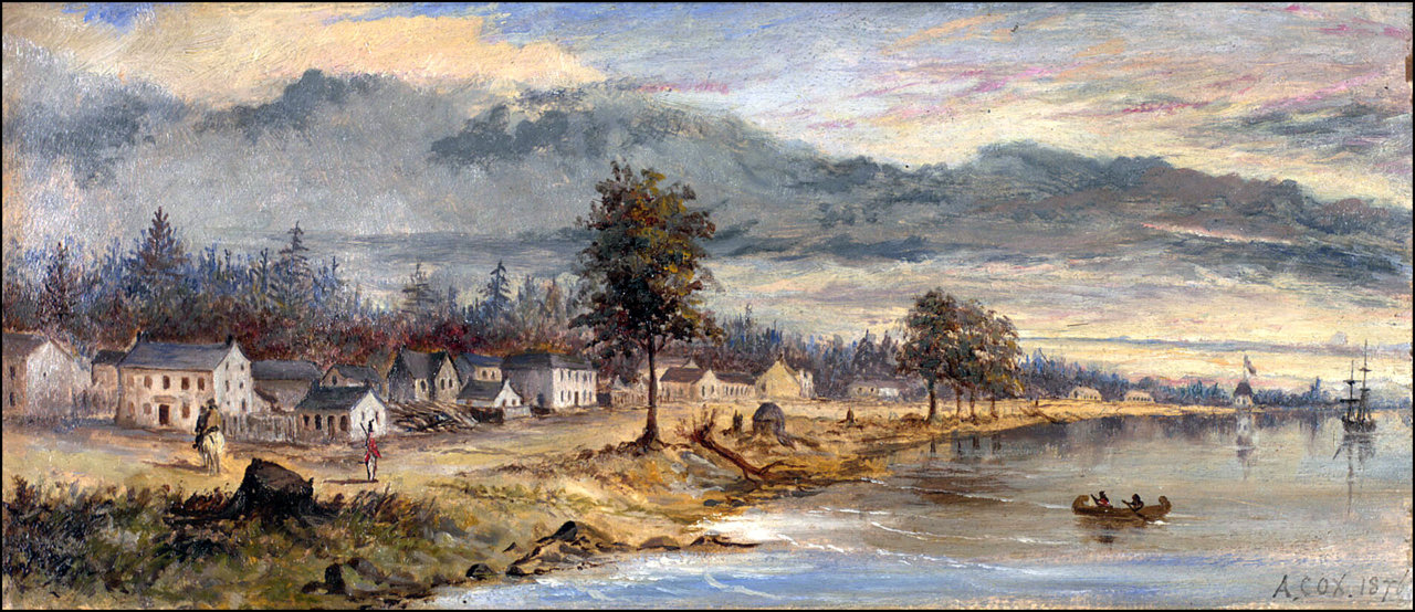 Toronto 1803 by Edward Walsh (1766-7-1832) Looking east along Front St. E., the north east cor...jpg