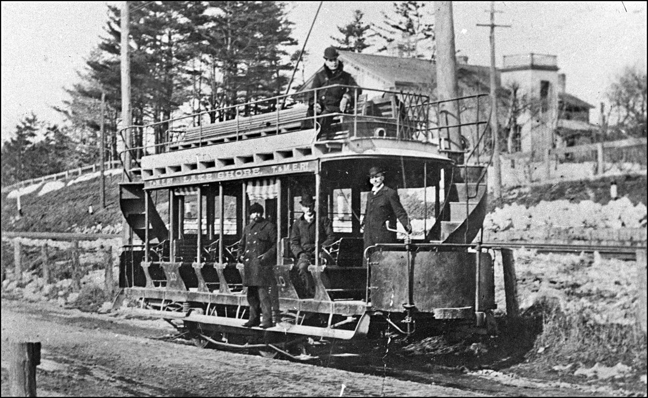 Toronto and Mimico Electric Railway and Light Company, car on Lakeshore Rd. 1891  TPL.jpg