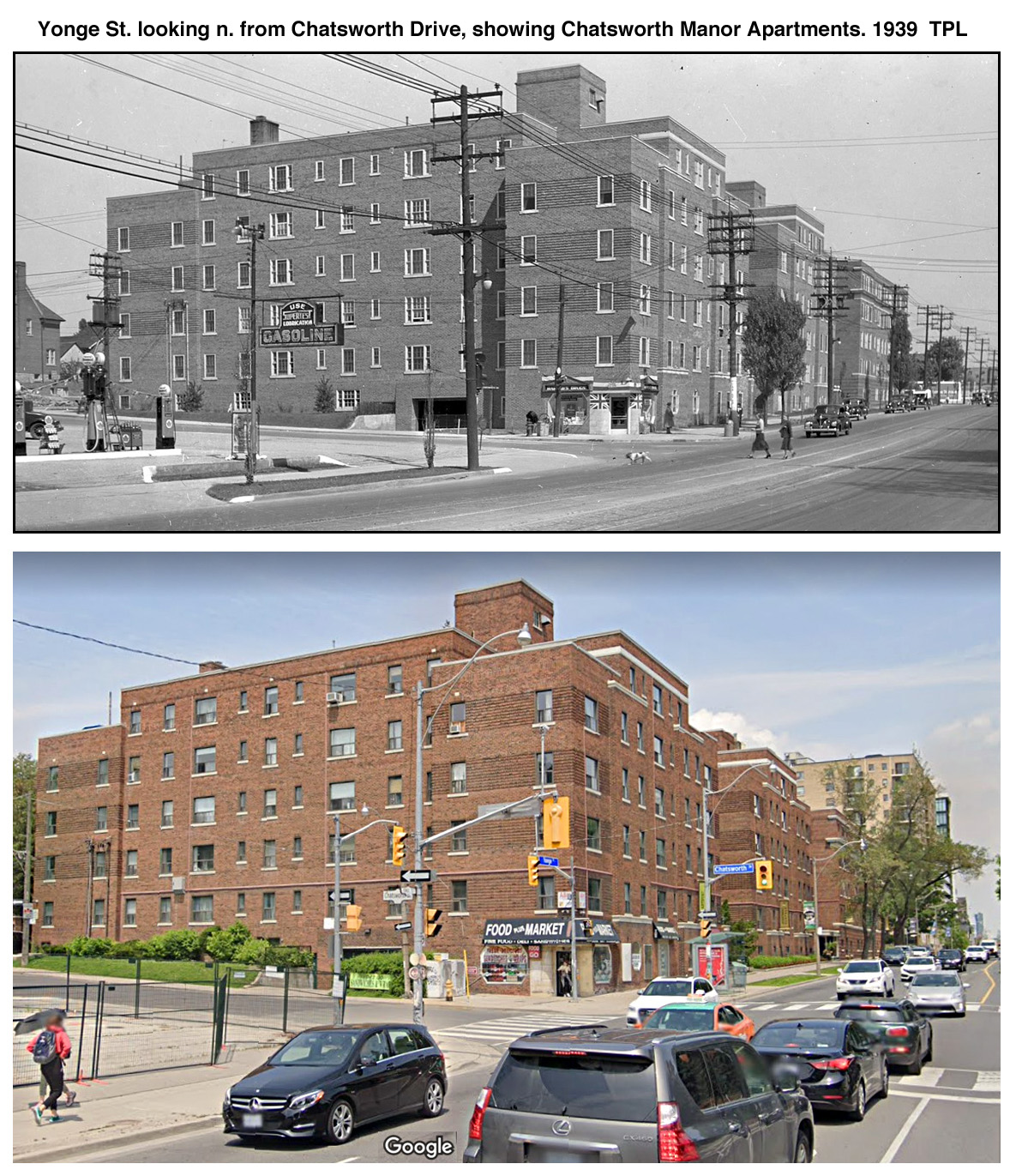 Yonge St. looking n. from Chatsworth Drive, showing Chatsworth Manor Apartments. 1939  TPL.jpg