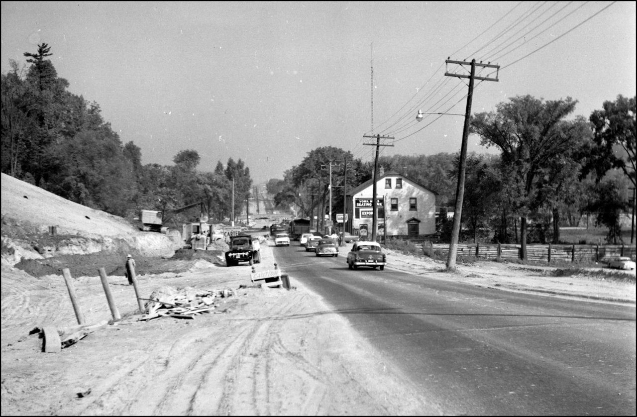 Yonge St. looking north from south of Mill St., during construction of bridge over West Don Ri...jpg