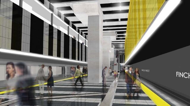 Finch West Station Platform, image courtesy of TTC / Stevens Group Architects /