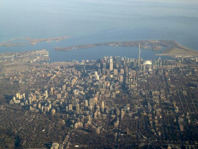 This is an aerial shot of downtown Toronto looking south from the north.