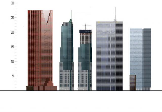 This rendering by Kamuix shows the comparative height of tallest Toronto towers