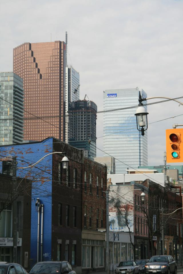 This photo is of the Toronto downtown core of tall buildings