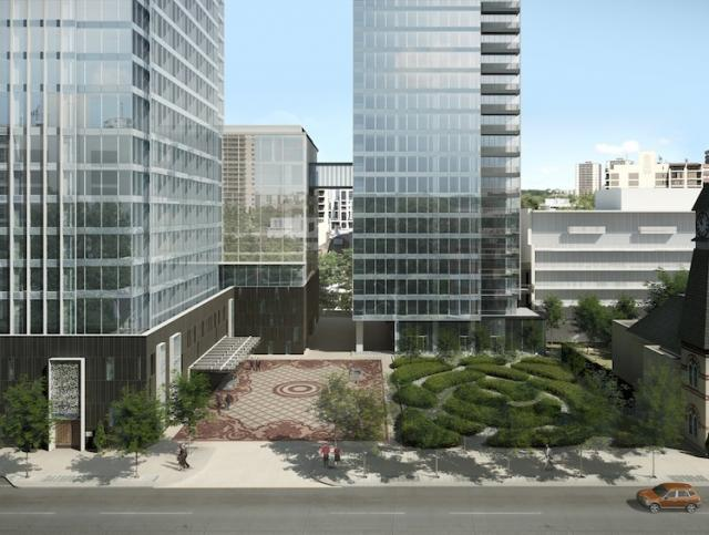 This rendering shows future plan for Four Seasons Hotel and Residences Courtyard