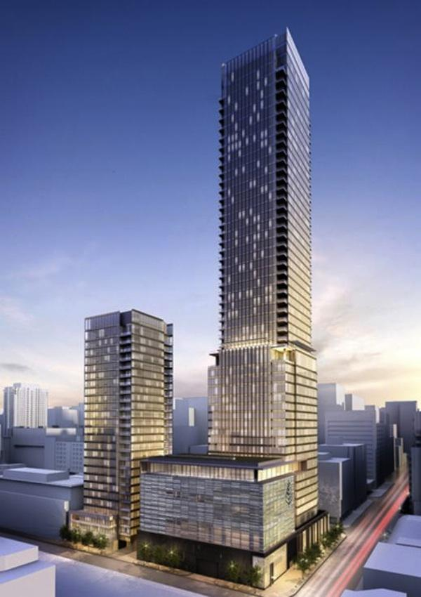 This rendering shows exterior of Four Seasons Hotel and Residences