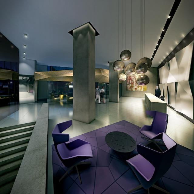 This is a rendering of Concord Adex's Quartz' lobby