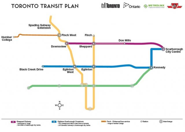 This is a map depicts the new subway lines of for Toronto.