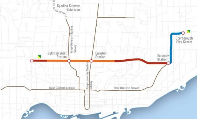 This is a map depicting the undergeround section of the Eglinton subway line