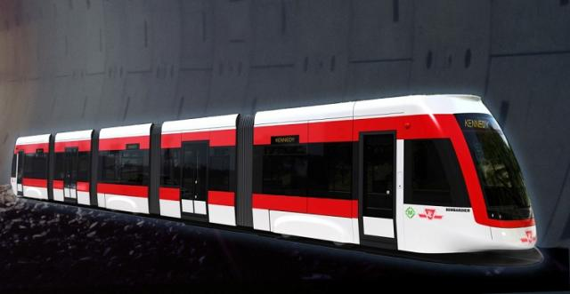 This is a rendering of the new LRT trains to be used on the Eglinton line.
