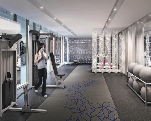 This is a rendering of the fitness centre at The Address at High Park.