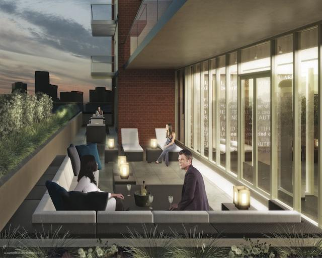 This is a rendering of theoutside terrace at The Address at High Park.