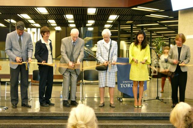 Ribbon Cutting at the opening of renovations at Robarts Library, image by Craig