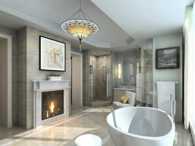 Master bath + fireplace