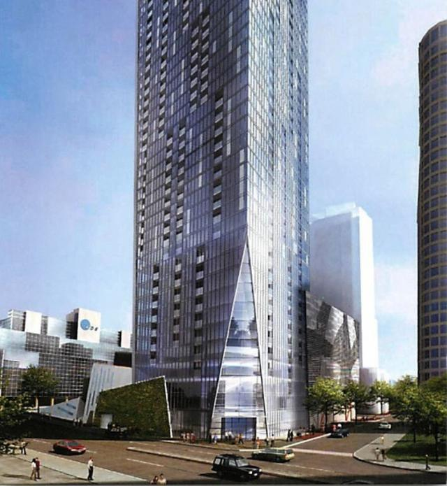 Facing L Tower's chamfered southwest corner, new plan. Image courtesy of Cityzen