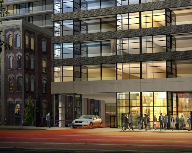 Porte Cochere at Victory Condos, image courtesy of BLVD and Lifetime Development