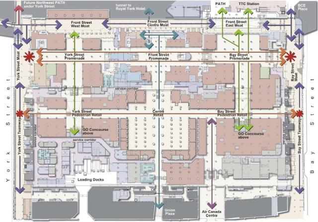 Floor plan for the new GO Transit concourse at Union Station, image supplied by