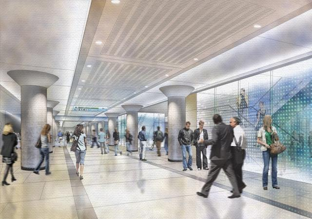 Rendering of the new GO Transit concourse at Union Station, image supplied by NO
