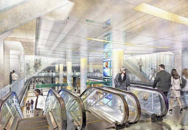 Rendering of the new GO Transit concourse looking down on the retail level at Un