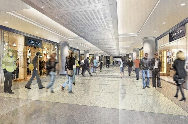 Rendering of the new retail level at Union Station, image supplied by NORR Archi