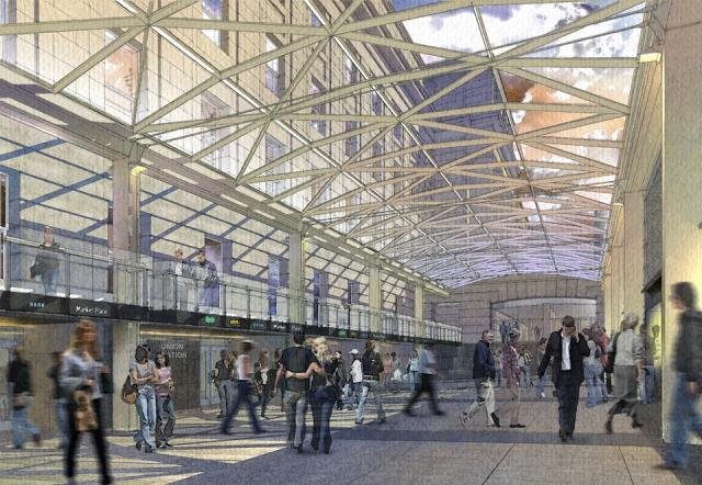Rendering of the glass canopy over the Union Station moat, image supplied by NOR