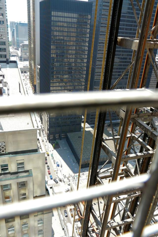 Through the construction hoist gate at the Trump International Hotel and Tower T