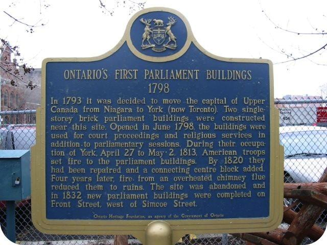 Ontario Heritage Foundation plaque marking site of the first parliament building