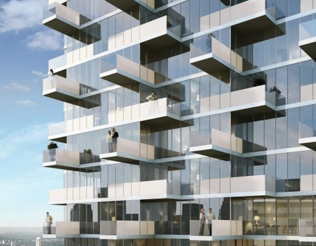Alternating balconies at Monde Condominiums, Toronto, by Great Gulf Homes