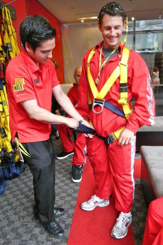 Suiting up for Edgewalk at the CN Tower Toronto, image by Craig White
