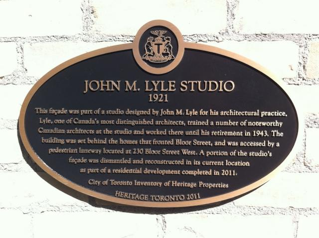 Heritage Toronto plaque for the John Lyle studio façade.