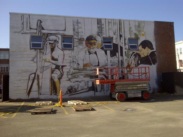 Mural underway at B.streets Condos by Lindvest Properties, image by Tom Ryaboi