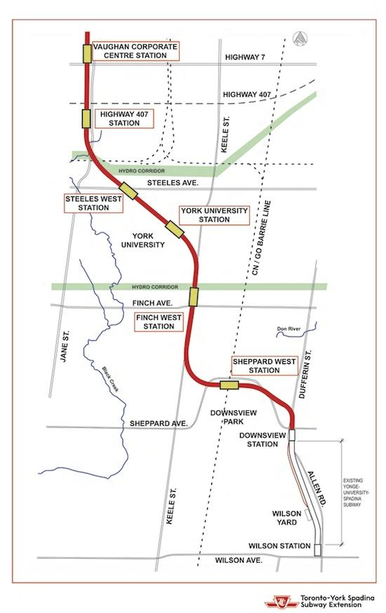 Map of the Spadina subway extension. Image provided by the TTC.