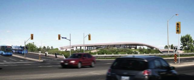 Rendering of Highway 407 station on the Spadina subway extension. Image provided
