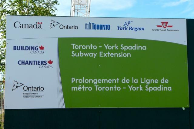 Sign announcing construction of the Spadina subway extension. Image by Craig Whi